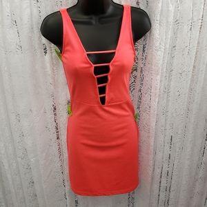 Neon Coral Bodycon Plunging Mini Dress Clubwear